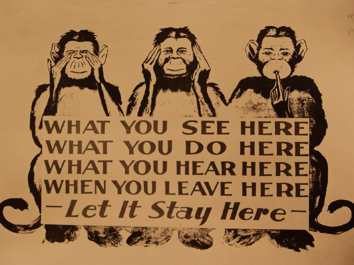 A 1943 Oak Ridge billboard emphasizing the importance of secrecy