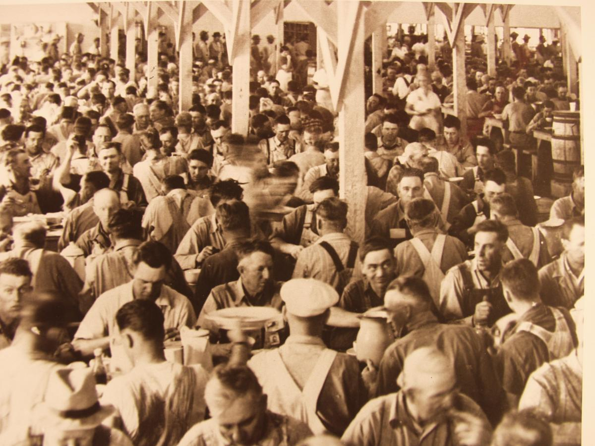 Hanford workers eat in the enormous mess hall.